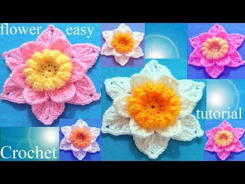 Como tejer a Crochet flores - Crochet 3D flower easy - YouTube