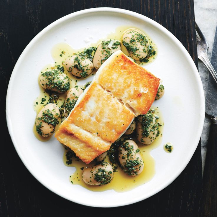 Pan-Roasted - Halibut with Herbed Corona Beans - Bon appetite -The halibut is brined briefly in salt water, which seasons it all the way through.