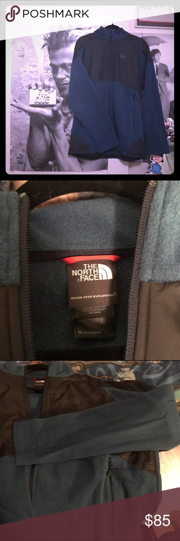 North Face Denali Men's Fleece jacket Like new! Dark teal fleece and black waterproof material. North Face Jackets & Coats Windbreakers