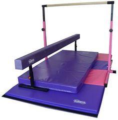 Little Gym Deluxe - Adjustabl e Bar - Adjustable Balance Beam - Folding Gymnastics Mat - Landing Mat