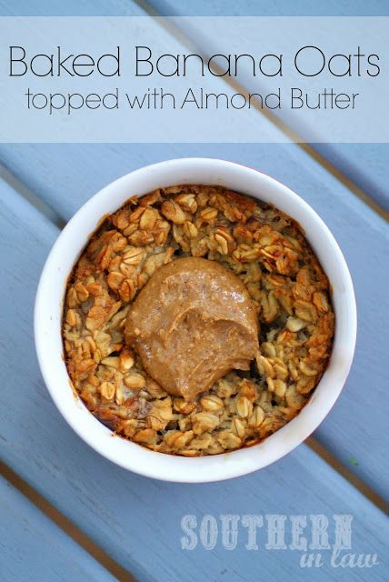 Need a breakfast for busy mornings? This healthy, vegan baked banana oatmeal with almond butter can also be made in advance!