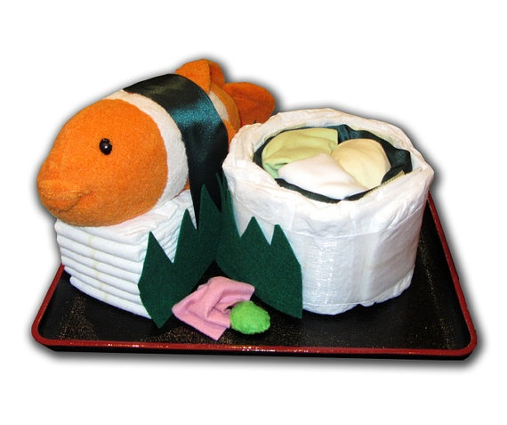 Sushi diaper cake.