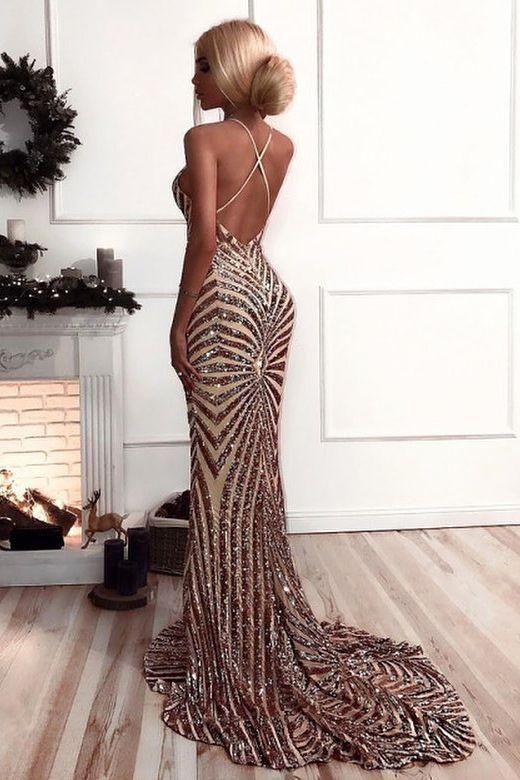 ef386fcf998 Sexy V Neck Straps Mermaid Rose Gold Sequins Long Evening Dress M1932