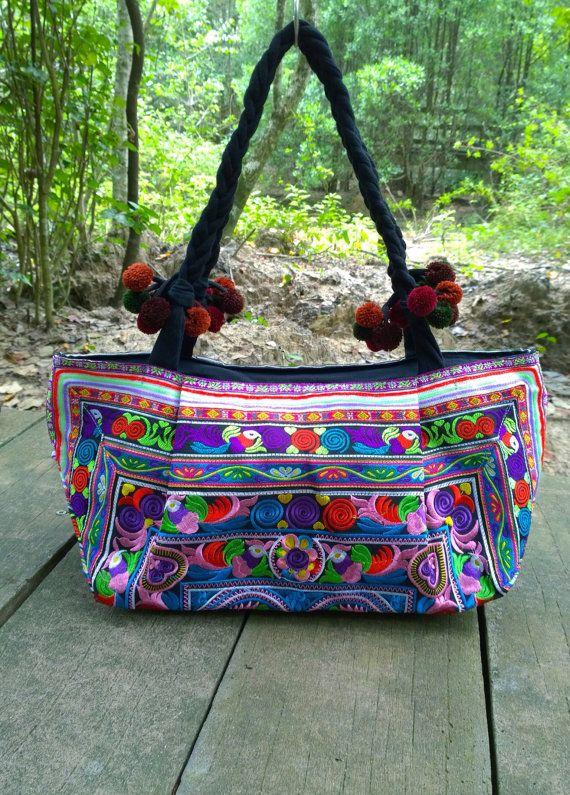 Hmong Embroidery Boho Tote handbag fashion style by pasaboho
