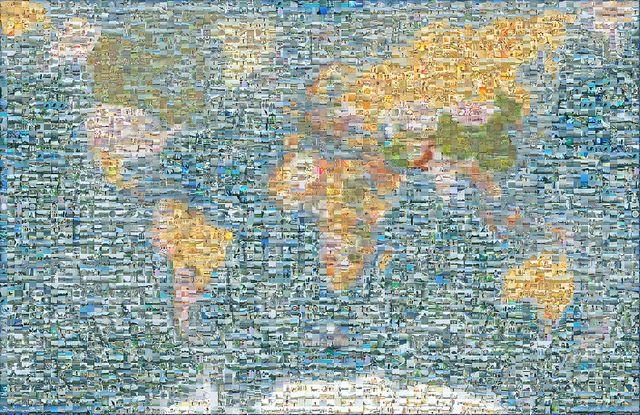 Mapamundi Mosaico by Mavila & Sergio, via Flickr  Imagen construida con más de 10.000 fotografías de nuestro viaje De Vuelta al Mundo No. 1 Más información en http://www.devueltaalmundo.info