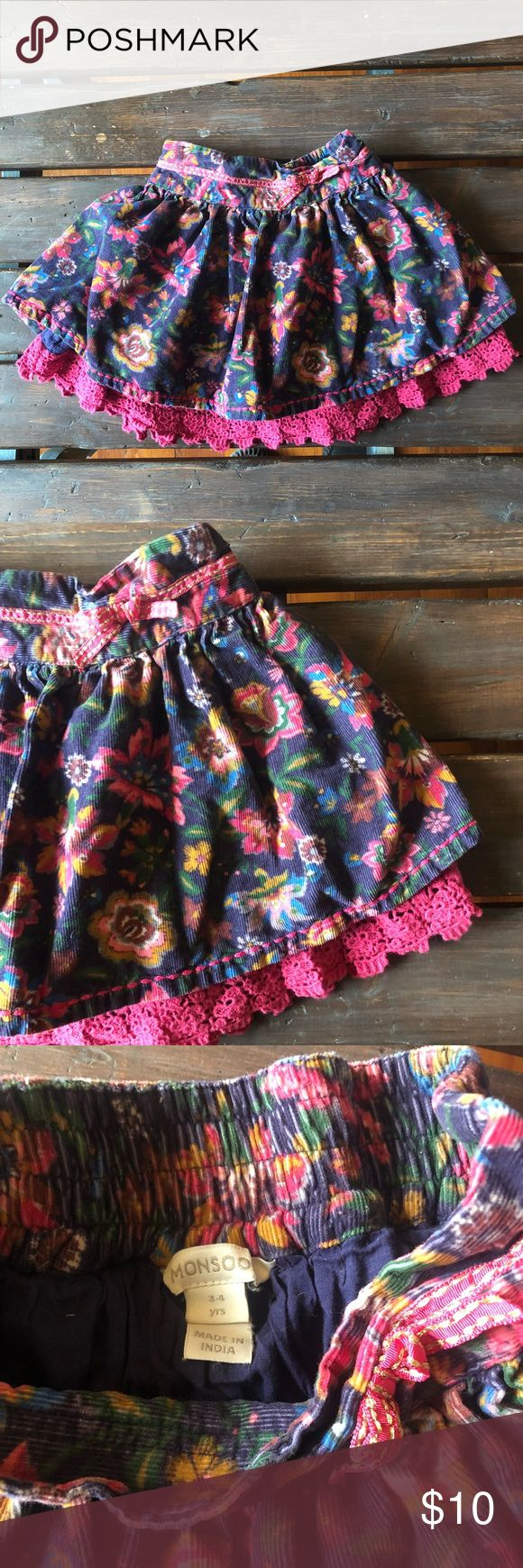 Monsoon floral and layered skirt Vguc! So so cute. Size 3/4y Monsoon Bottoms Skirts