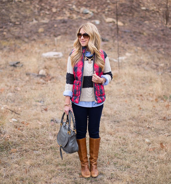 Buffalo Check vest stripes sweater outfit