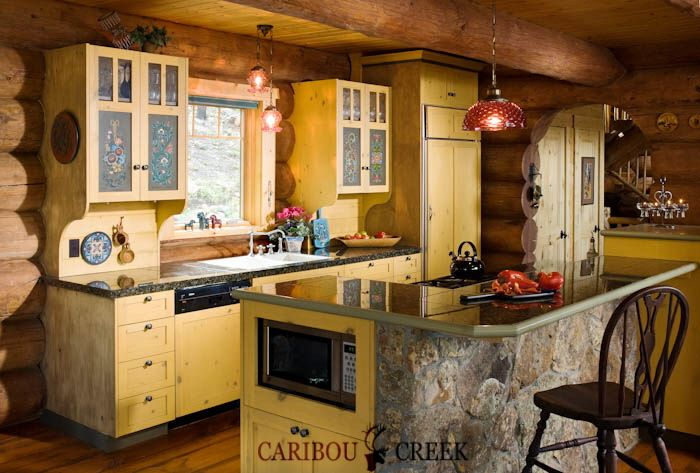 Rustic, Custom built kitchen, in a Full Scribe Log Home, tucked deep within the woods of Colorado.