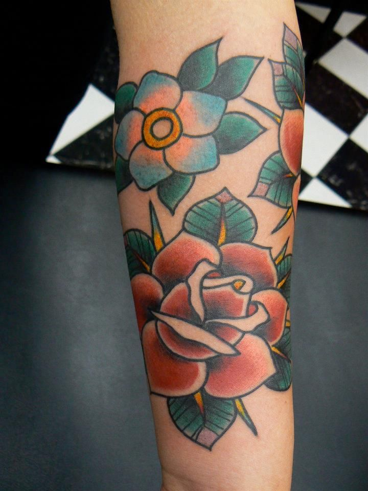 Fresh Old School tattoo roses & flowers by Robert Aalbers @Clean Solid Oct 18 2011