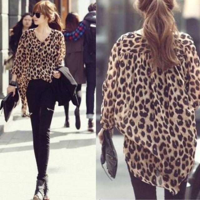 Блузки и рубашки бесплатная доставка евро - американский стиль леопарда мода с длинным рукавом свободно нерегулярные подол v-образным вырезом шифон топы