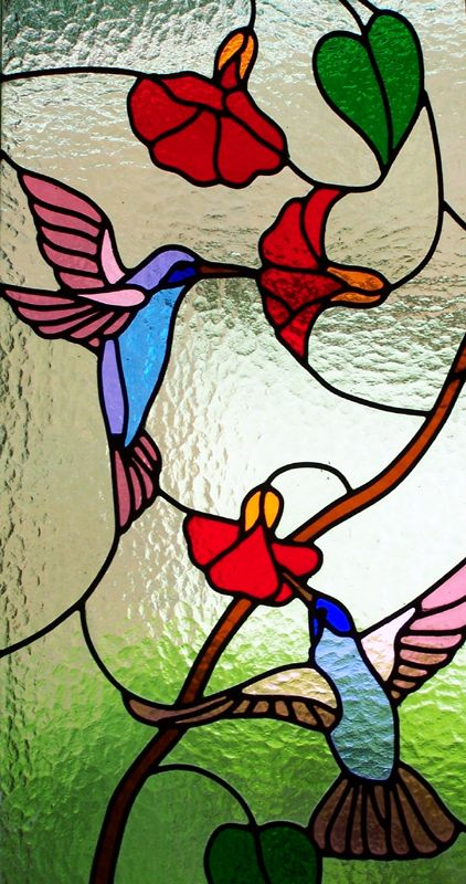 2 hummingbirds for my grandparents and in stained glass form with a nice frame around it