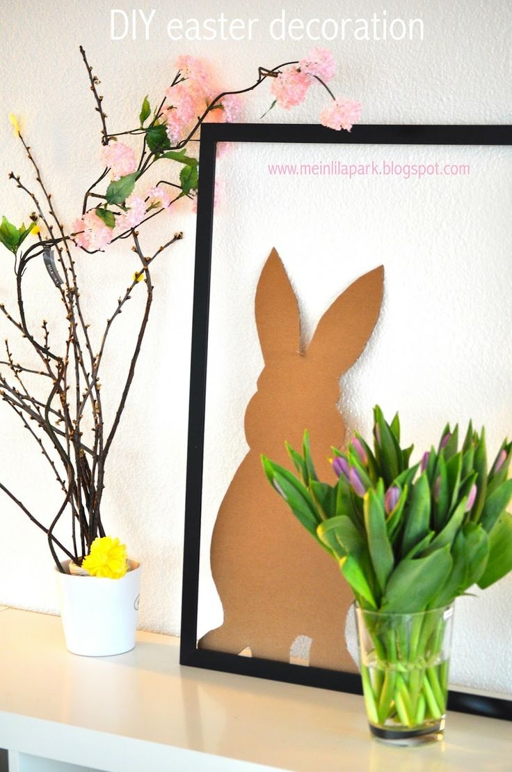 DIY cardboard bunny with frame (- free printable template in 4 pdf files)