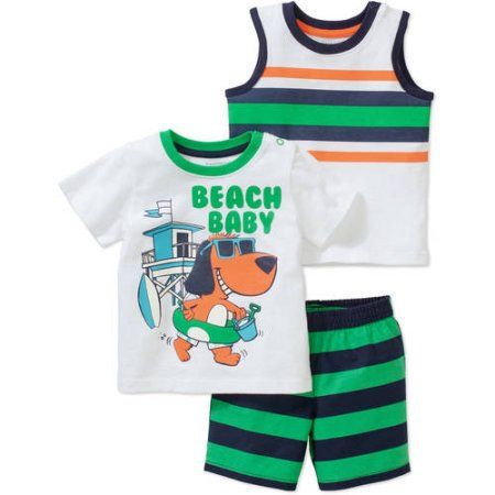 Healthtex Newborn Baby Boy Short Sleeve Graphic Tee Tank and Short Clothing Outfit Set, White