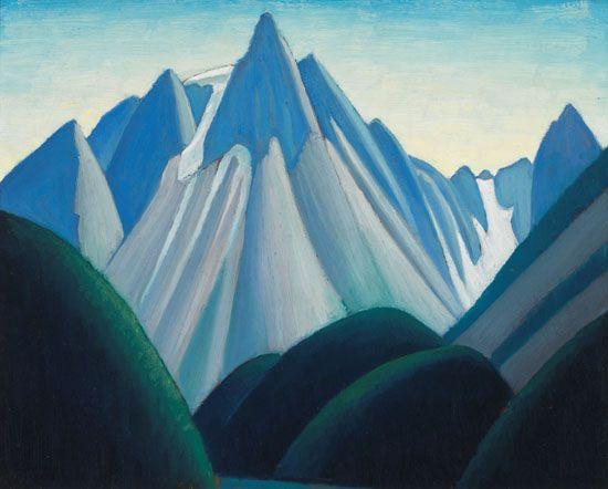 Lawren Harris - Cathedral Mountains from Yoho Valley Mountain Sketch LXXXVI 12 x 15 Oil on board (1929)
