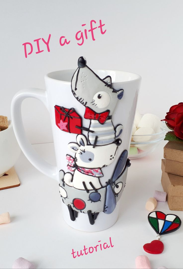 Dogs with a gift polymer clay projects ideas for beginners
