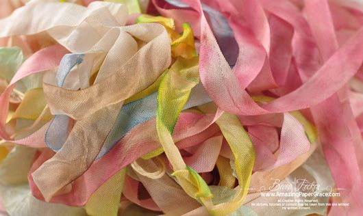 Frugal Custom Ribbons - color them quickly and easily to match your project and save money too! - Becca has lots of tips.