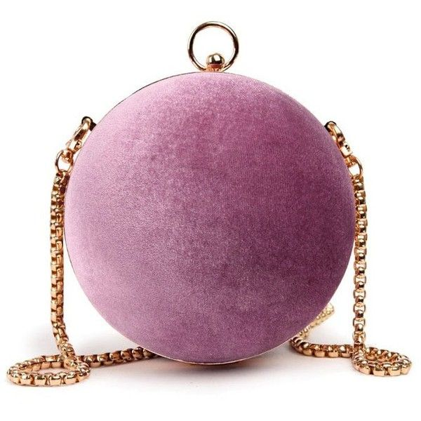Pinkish Purple Chains Velvet Ball Shaped Wristlet ($21) ❤ liked on Polyvore featuring bags, handbags, clutches, purple purse, purple cross body purse, crossbody wristlet, crossbody purses and purple wristlet