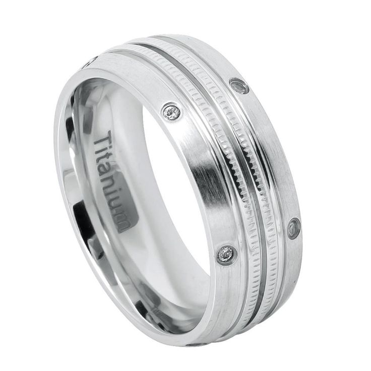 Brushed Domed White Titanium Ring Double-Milgrain Center with evenly spaced 12 Tiny CZs