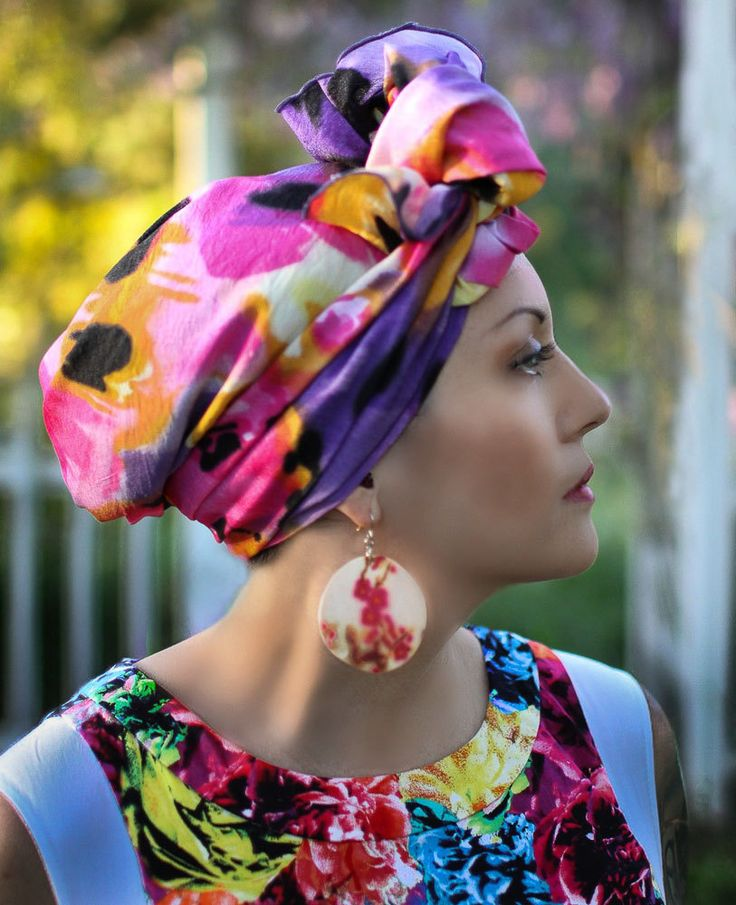 Purple Pink Yellow Black Floral Turban Chemo Head Wrap Alopecia Scarf, Hat & Scarf Set - pinned by pin4etsy.com