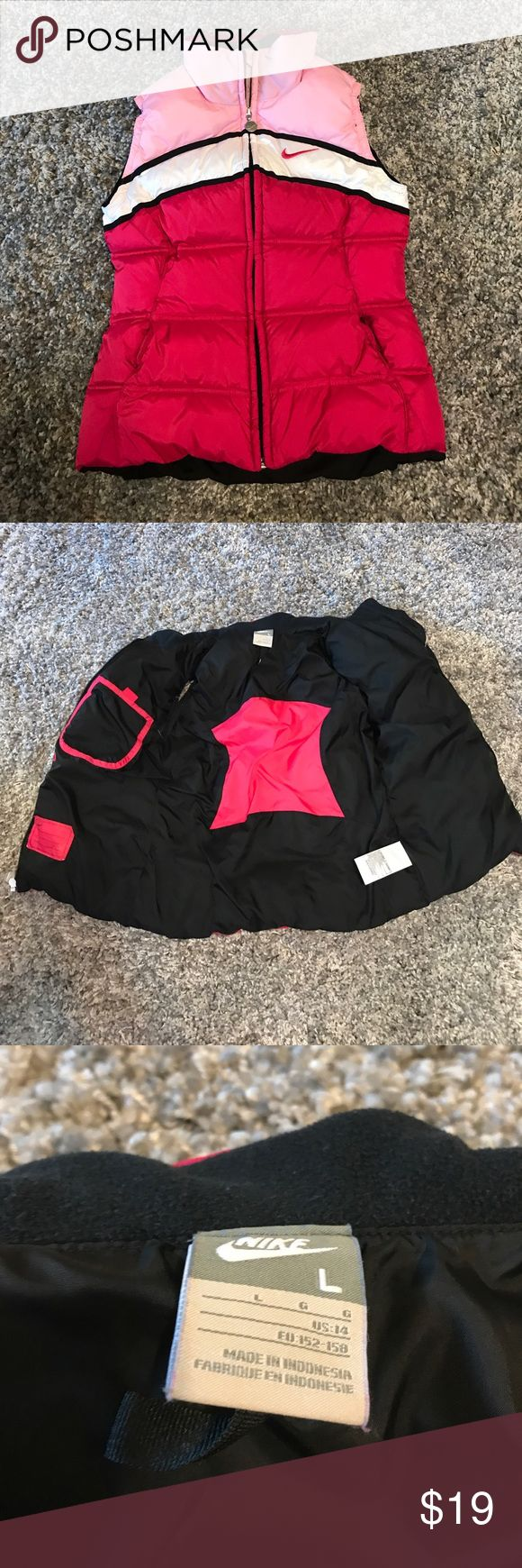 Nike Puffer Large Kids Girls pink Vest Super cute girls Nike vest! Reasonable offers accepted! Bundle for a private discount! Nike Jackets & Coats Vests