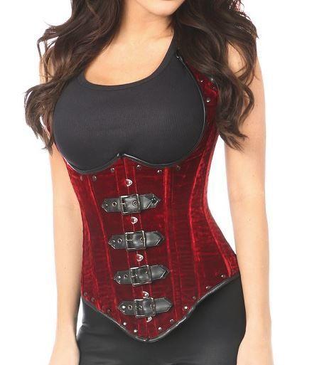 9cf3789230c Rich red velvet steel boned corset in an underbust waistcoat style