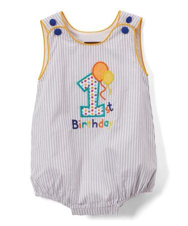 6488aa903 Only $18.99!! gray Stripe 'First Birthday' Bubble Romper - Infant is perfect