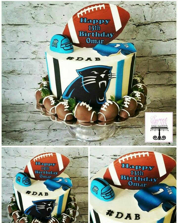 Carolina Panthers Birthday Cake with Chocolate Covered Strawberry Footballs