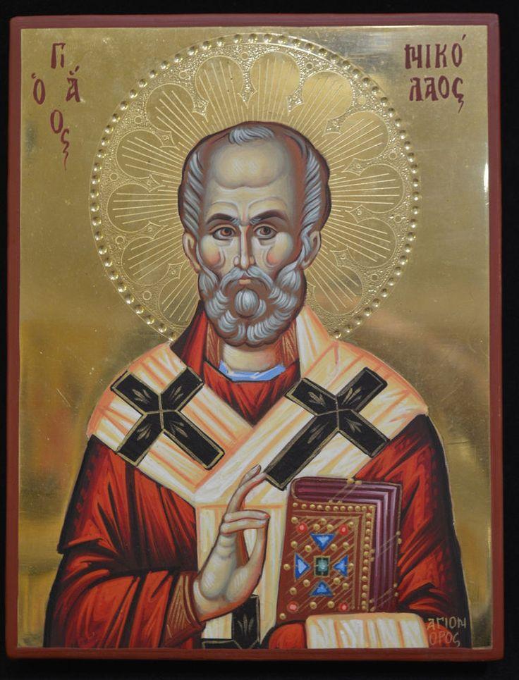 Orthodox Icon Handpainted Greek Byzantine 24 GOLD St. Nikolaos Mount ATHOS Style