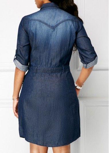 Summer Jeans Dress Women Vestido De Festa Cotton Blue Turn-down Lapel Sexy Dress Plus Size Women Clothing Denim Dress Women's Clothing Oh