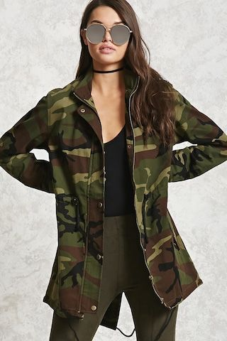 Longline Camo Print Jacket   CAD $48.90 This longline utility jacket features allover camo print, long sleeves with snap-button cuffs, a zippered closure, a snap-button placket, a drawstring waist, slanted snap-button flap pockets, a back slit, and a drawstring hem.