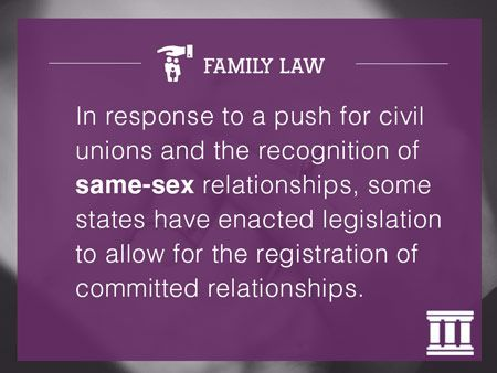 In response to a push for civil unions and the recognition of same-sex relationships, some states have enacted legislation to allow for the registration of committed relationships.