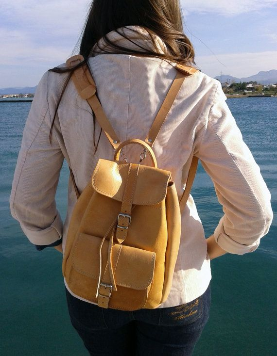 Handmade Natural Small Leather Backpack one pocket by MagusLeather, €80.00