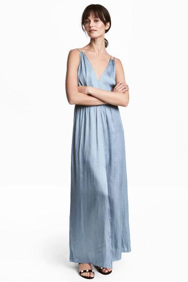 Długa sukienka z satyny - Niebieskoszary - ONA | H&M PL