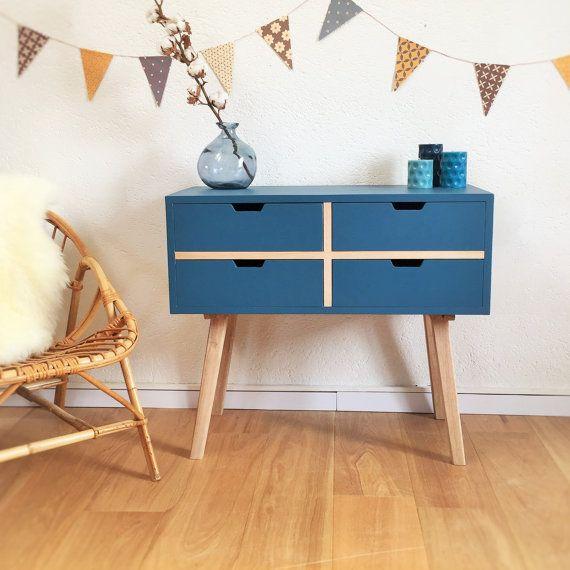 Chest of drawers, dresser, cabinet, Scandinavian & mid century desig, blue colos, model Sidonie