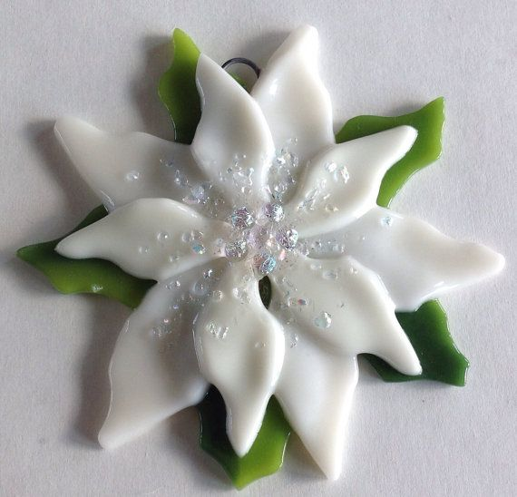 Fused Glass Christmas Ornament Poinsettia in Cream by CDChilds