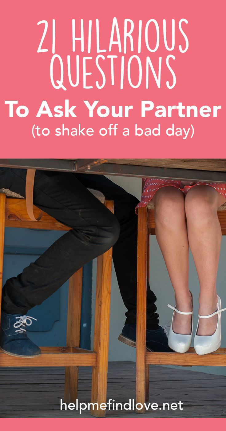 21 Funny Questions For Couples To Shake Off A Bad Day. These questions for couples are hilarious, honest, and will have you laughing. Great activity or date to feel more connected, in love and shake off any bad days.
