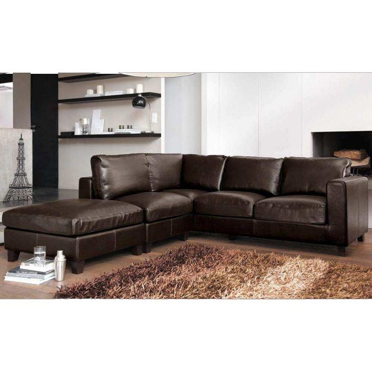 perfect divano ad angolo color cioccolato in crosta di pelle posti kennedy maisons du monde with. Black Bedroom Furniture Sets. Home Design Ideas