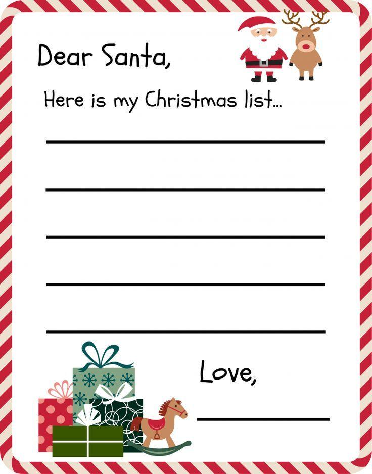 Free Printable Letter To Santa Template Christmas Pinterest