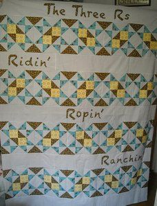 Love the blocks on this quilt...the Christholm block looks fun to sew!!!  Cute quilt overall.  The Three Rs, Cowboy Style by Shelly of Prairie Moon Quilts.  Complete pattern and instructions.