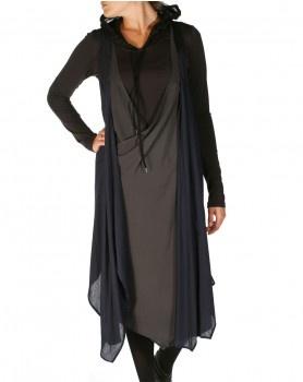 Brotherhood Slip Dress in Charcoal & Black by Nom*d