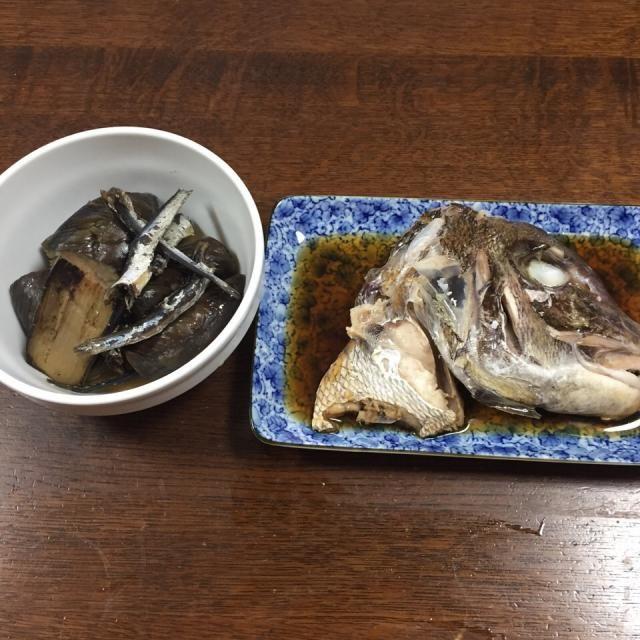 鯛のかぶと煮(身は炊き込みご飯でした) ナスの忘れ煮 - 41件のもぐもぐ - これから夜遊びなので軽めの夕食 by aquchan