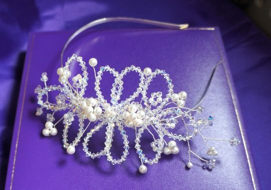 Vintage Style Tiara - Swarovski Crystal Tiara - Swarovski Pearl Hair Accessory £85.00