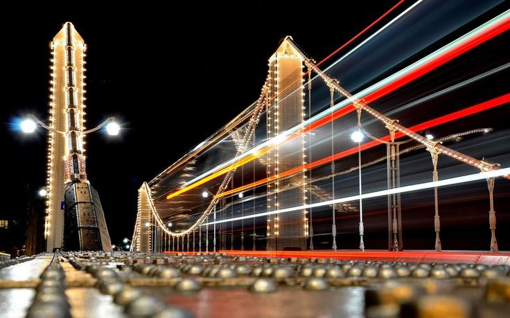 Мост Челси, Chelsea Bridge, река, Темза, Thames, London, Лондон, England, Англия, Великобритания, освещение, дорога, выдержка, свет, огни, ночь, город