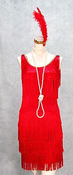 1920s FRINGED GATSBY FLAPPER DRESS PLUS SIZES TOO RED