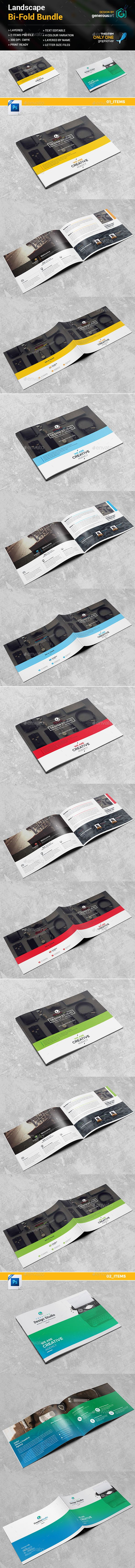 Landscape BiFold Brochure 2 in 1 — Photoshop PSD #blue #graphic • Download ➝ https://graphicriver.net/item/landscape-bifold-brochure-2-in-1/19260961?ref=pxcr