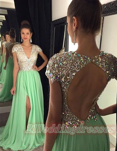 Deep V-neck Mint Prom Dresses,Front Split Evening Dresses,Backless Prom Dresses http://21weddingdresses.storenvy.com/products/15750603-deep-v-neck-mint-prom-dresses-front-split-evening-dresses-backless-prom-dres