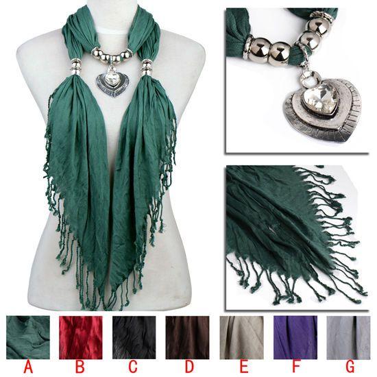 new sparkle heart pendant scarf,crystal stone jewelry scarf,winter scarf NL-2144 #Scarf