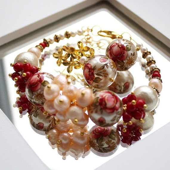 STRAWBERRY CREAM  set of of fashion jewelry от BijouMaster на Etsy, $71.00