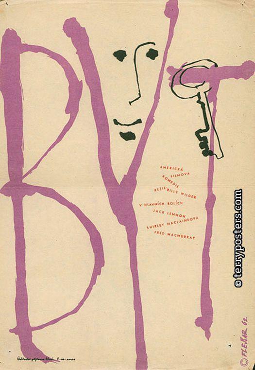 Designer: Flejšar, Josef  Origin of film: USA  Year of poster origin: 1962  Director: Billy Wilder  Actors: Jack Lemmon, Shirley MacLaine