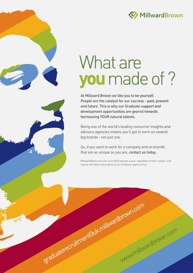 Employer brand creative campaign, branding, advertising and internal comms for raising HR employer brand profile targeted specifically at graduates | Millward Brown | Portfolio | Rok Creative